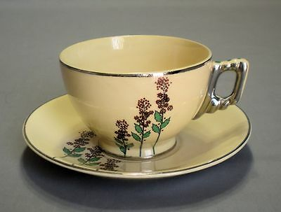 VTG LEIGH WARE POTTERS WILD FLOWERS CUP & SAUCER PLATINUM RIM RARE