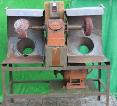Dual Head Industrial Metal Buffer Polishing Buffing Machine Refinishing 3Ph 1Hp