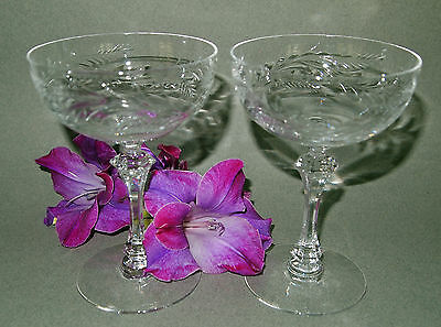 Vintage Cut Crystal Champagne Toasting Wedding Glasses Pair  Anniversary Set 2