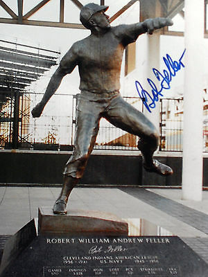LEGEND HOF BOB FELLER SIGNED POSTCARD FELLER STATUE 3 x NO HITS Triple Crown