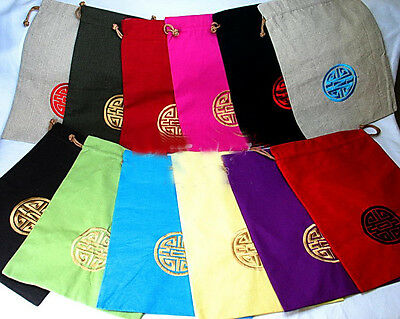 Wholesale10pcs Chinese Traditional Pattern Embroiderd Flax Clothes& Shoe Bags