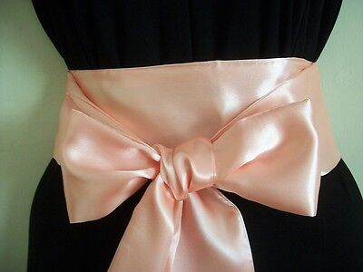 "3.5x60"" PASTEL PEACH SATIN SASH BELT SELF TIE BOW FOR DRESS PROM PARTY BRIDAL"