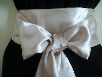 "3.5x60"" CHAMPAGNE SATIN SASH BELT SELF TIE BOW for PARTY DRESS WEDDING EVENING"