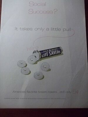 1950's Vintage Ad Lifesavers Pep O Mint Candy Social Success Little Red String