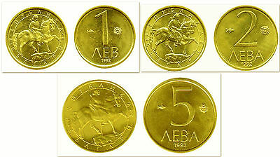 Bulgaria 1992 1 & 2 & 5 Leva 3 Uncirculated Coin Set
