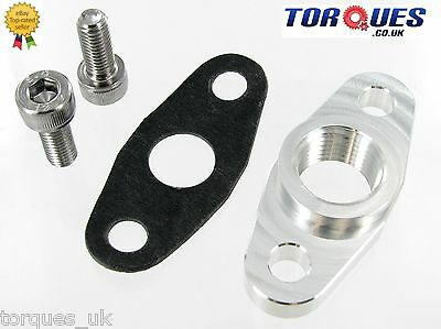"T3 T4 T04B T04E Garrett Turbo Billet Oil Return Flange 1/2"" NPT + Bolts + Gasket"