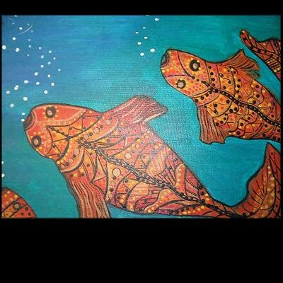 ORIGINAL ART  ABORIGINAL FISH  ABSTRACT  Lynne Pickering Home decor 1182012