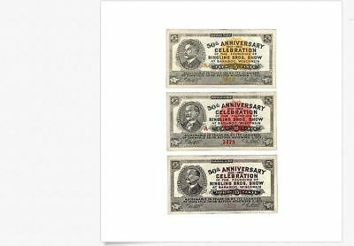 1933 Ringling Brothers Circus Baraboo Wisconsin Scrip 5c, 10c & 15c Unc.