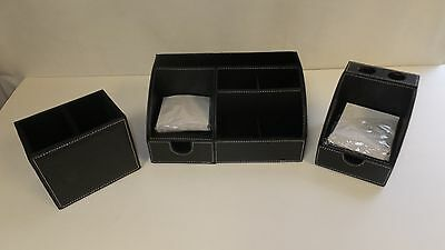 3 Piece Desk Accessory Set - Black Leatherette with White Stitching