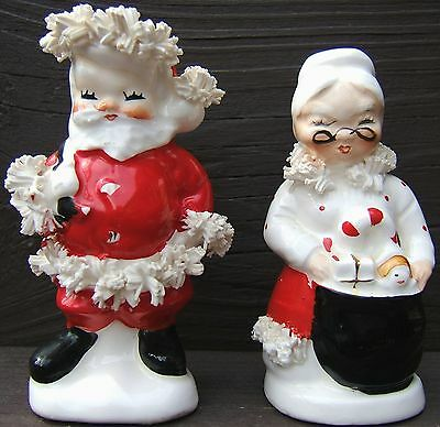 Vintage NAPCO SANTA and MRS CLAUS CHRISTMAS Ceramic Salt Pepper Shakers 1950s