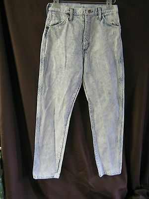 VTG 80's Wrangler Acid Wash Ribbed Denim High Waist Jeans Size 13 Made in USA