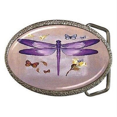 New Ladies Purple Dragonfly Butterflies Belt Buckle