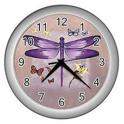 New Purple Dragonfly & Butterflies Lounge Bed Room Home Decor Office Wall Clock