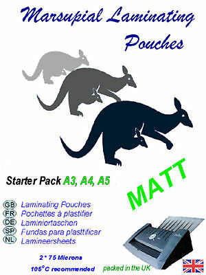Matt laminating pouches Marsupial A3 A4 A5 plus paper carrier starter pack