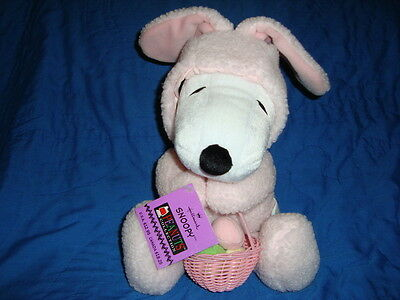"""Snoopy in Pink Easter Bunny outfit  Plush Hallmark 15"""""""