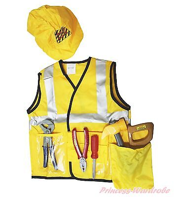 Construction Worker Engineer Kid Child Party Costume Cosplay 7P Uniform SET 3-7Y