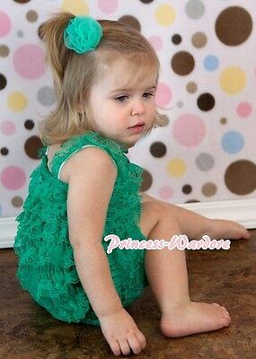 Xmas NewBorn Baby Kelly Green Lace Layer Chiffon ONEPIECE Romper Jumpsuit NB-3Y