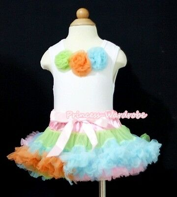 Newborn Baby Rainbow Pettiskirt Tutu Dress White Top Matching Rose Set 3-12Month