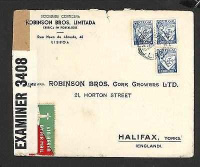 PH5000 1945 Military Postal History Cover WWII Portugal to England Great Britain