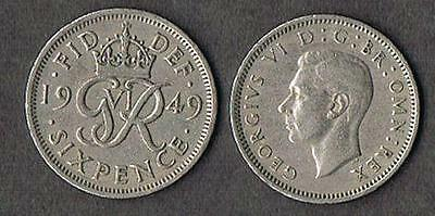 "UK - Great Britain 1949 Wedding Sixpence - ""Something Old someth"