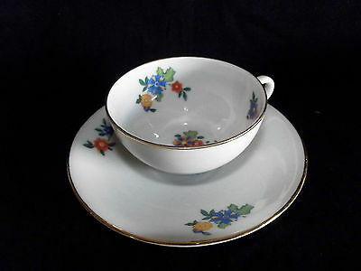 Vintage Bareuther Bavaria Germany flowered  teacup and saucer MINT