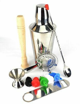 COCKTAIL SHAKER SET Maker Mixer Martini Spirits Muddler Bar Strainer Jigger