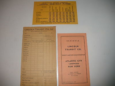 VINTAGE LINCOLN TRANSIT CO MOTOR COACH COUPON AND SCHEDULE
