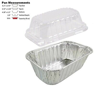 1 lb. Aluminum Foil Mini-Loaf Pan w/Clear Dome Lid 25/PK - Disposable Containers