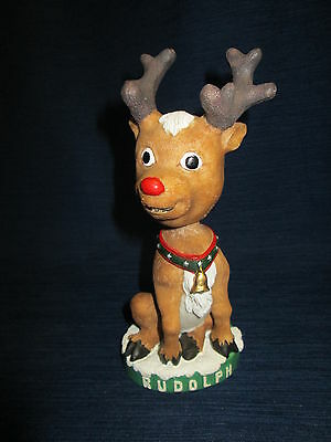 """7.5"""" RUDOLPH The Red Nosed REINDEER BOBBLE HEAD Figurine"""