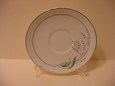 TAYLOR SMITH TAYLOR  SAUCER GREEN WHEAT  PATTERN  PLATINUM ACCENT TRIM  U.S.A.