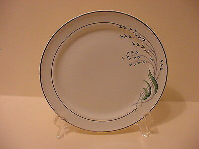 TAYLOR SMITH TAYLOR  BREAD BUTTER  PLATE GREEN WHEAT    PLATINUM  TRIM  U.S.A.