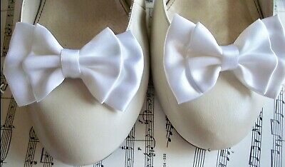 PAIR WHITE SATIN DOUBLE BOW SHOE CLIPS VINTAGE STYLE GLAMOUR BOWS 40s 50s BRIDAL