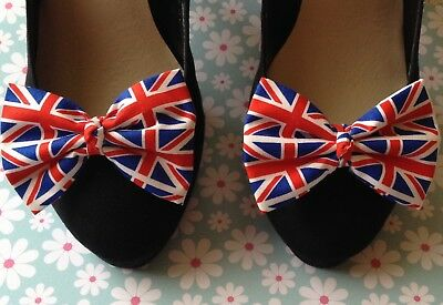 Pair Union Jack Uk Flag Print Cotton Novelty Shoe Bow Clips Retro Bows Handmade