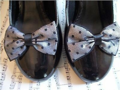PAIR WHITE SATIN BLACK SPOTTY NET SHOE CLIPS GLAMOUR BOWS 40s 50s VINTAGE STYLE