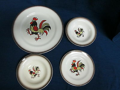 Set of 4 METLOX POPPYTRAIL Folk Country ROOSTER Plates & Bowls