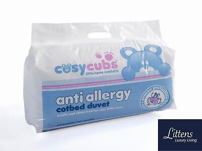 Anti-Allergy Cot Bed Duvet Quilt + Pillow, Nursery, Baby, Toddler, Junior