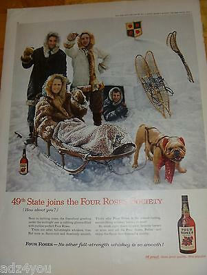 1959 Four Roses Whiskey Print Ad~49th State joins~Igloo/Snow/Snowshoes~1950s
