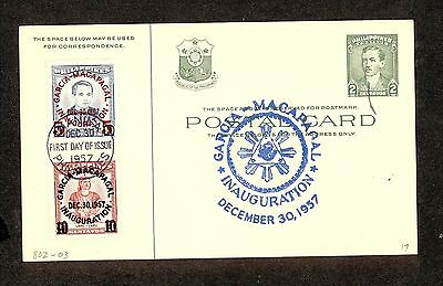 WC5291 1957 Philippines First Day Cover Postal Card