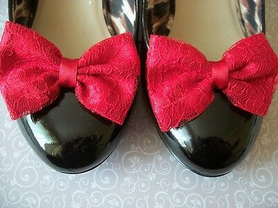 NEW PAIR RED SATIN RED FLORAL LACE SHOE CLIPS GLAMOUR BOWS 40s 50s VINTAGE RETRO