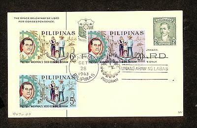 WC5327 1963 Philippines First Day Cover Postal Card