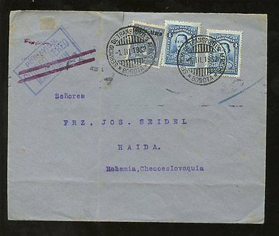 COLOMBIA to CZECHOSLOVAKIA 1932 AIRMAIL CANCELLED