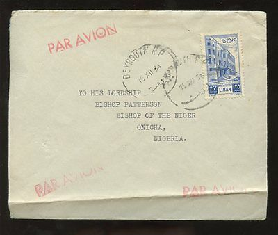 LEBANON 1954 AIRMAIL to NIGERIA...BISHOP PATTERSON...ONICHA