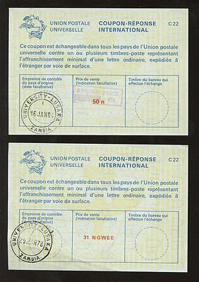 ZAMBIA 1978-84 REPLY PAID COUPONS IRC...UNIVERSITY POSTMARKS...31N + 65 on 50n
