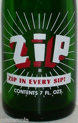 Vintage soda pop bottle ZIP 1969 Zip in Every Sip slogan new old stock n-mint+