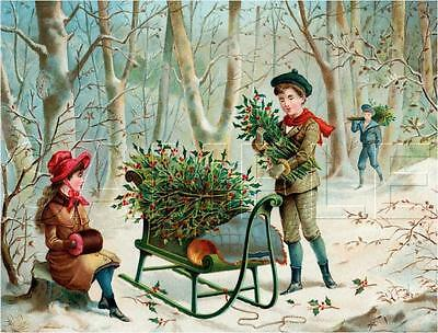 Vintage Victorian Christmas Holly Currier & Ives *canvas* Antique Era Art Print