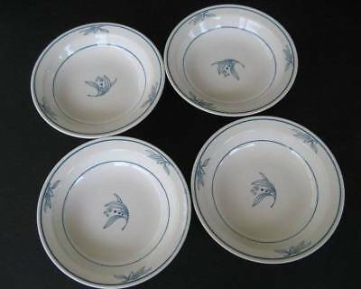 Vintage Crown Lynn Ultra Blue Cereal Bowls Set of Four New Zealand Pattern d322