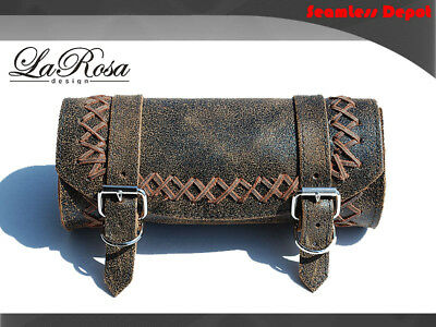 La Rosa Harley Universal Frame Strap Tool Bag - Rustic Brown Leather Cross Lace
