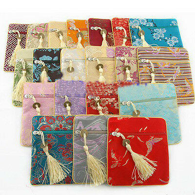Wholesale12pcs Chinese Stylish Handmade Silk Jewelry&Coin Pouch Wallet Purse
