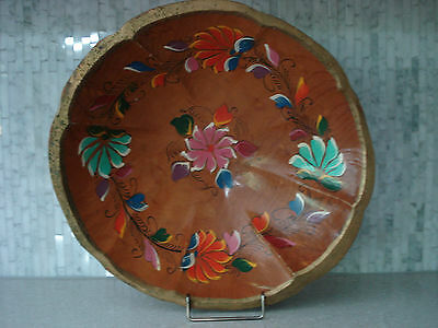 "VINTAGE MEXICAN HAND CRAFTED WOOD BATEA 13""  BOWL MEXICO"