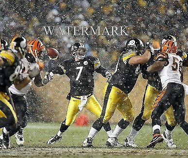 Ben Roethlisberger Pass In Pocket Snow 8x10 Color Photo Pittsburgh Steelers NFL